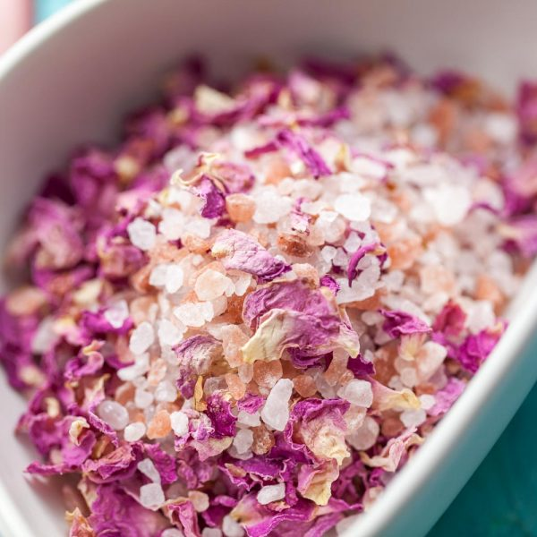 Bath Salts with blue cornflower and dried purple rose petals. Pamper gifts, wedding favours