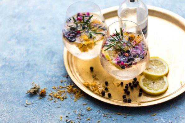 Drink Botanicals, cocktail making recipe. Dried lemon peel, gin, tonic, juniper berries, rosemary