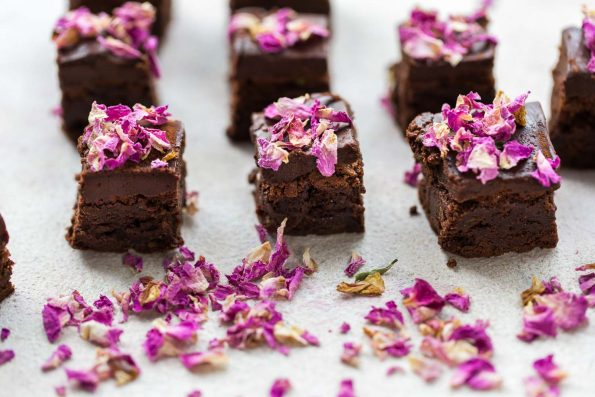 Edible Flowers, Baked Chocolate Brownies with Purple Rose Petals