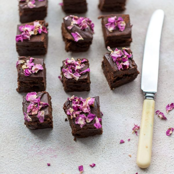 Edible Purple Rose Petals on Chocolate Brownies_