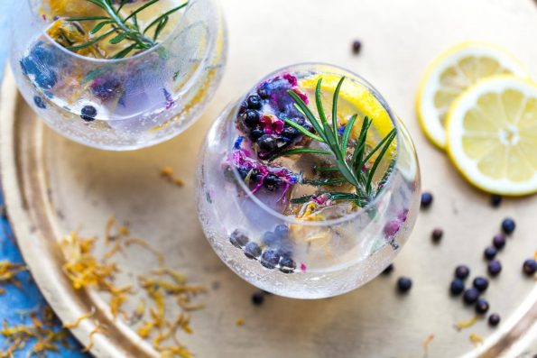 Gin Botanicals, dried juniper berries and dried lemon peel