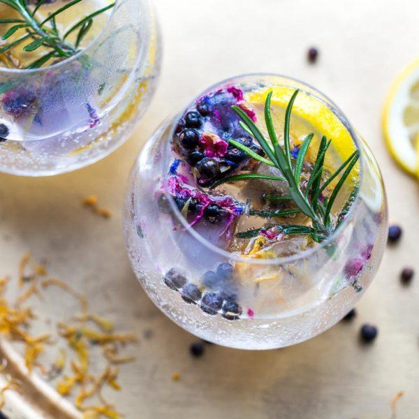 Gin Botanicals, dried juniper berries and dried lemon peel