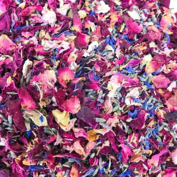 Natural Biodegradable Wild Flower confetti seed mix, wedding confetti, red & pink rose petals, blue cornflower, lavender & wild seed confetti