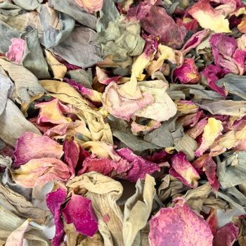 Magenta rose petals with silver grey lotus petals and lavender.